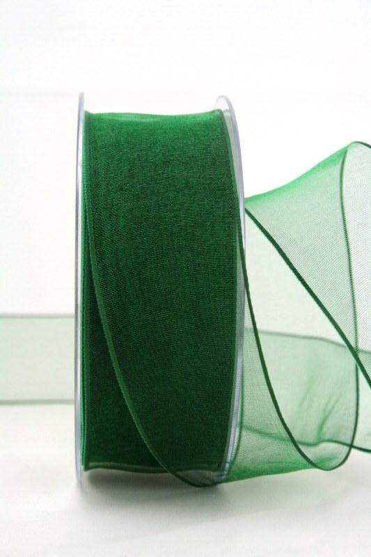 Organzaband dunkelgrün, 40 mm, mit Drahtkante - uni, organzabander, organzaband-mit-drahtkante