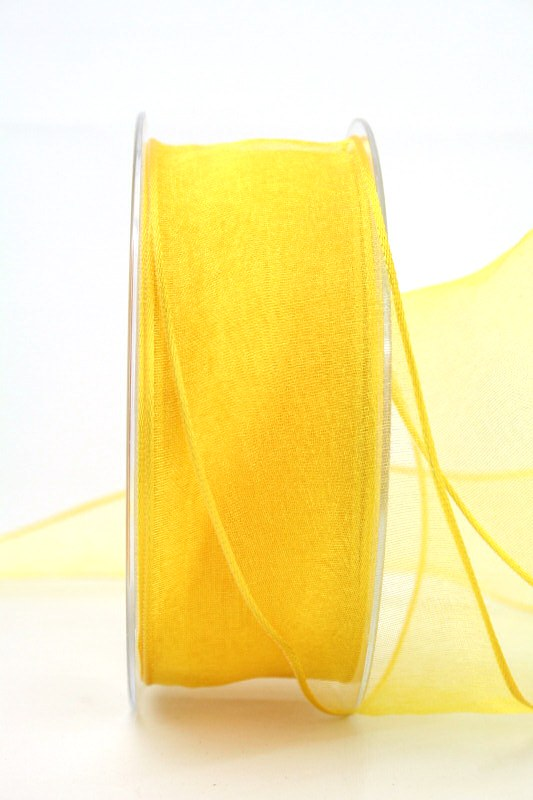 Organzaband gelb, 40 mm, mit Drahtkante - uni, organzabander, organzaband-mit-drahtkante