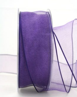 Organzaband lila, 40 mm, mit Drahtkante - uni, organzabander, organzaband-mit-drahtkante