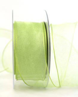 Organzaband maigrün, 40 mm, mit Drahtkante - uni, sonderangebot, organzabander, organzaband-mit-drahtkante, 50-rabatt