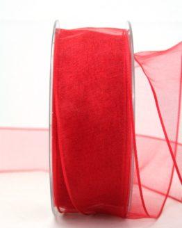 Organzaband rot, 40 mm, mit Drahtkante - uni, sonderangebot, organzabander, organzaband-mit-drahtkante