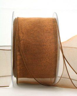 Organzaband braun, 60 mm, mit Drahtkante - uni, organzabander, organzaband-mit-drahtkante