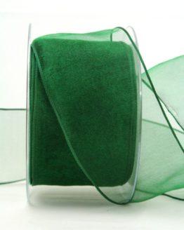 Organzaband dunkelgrün, 60 mm, mit Drahtkante - uni, organzabander, organzaband-mit-drahtkante