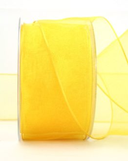 Organzaband gelb, 60 mm, mit Drahtkante - uni, organzabander, organzaband-mit-drahtkante