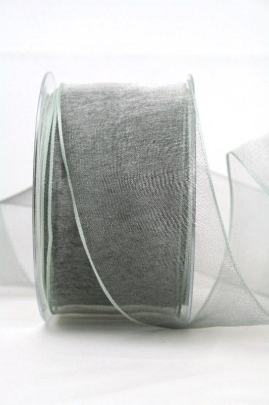 Organzaband hellgrau, 60 mm, mit Drahtkante - uni, organzabander, organzaband-mit-drahtkante