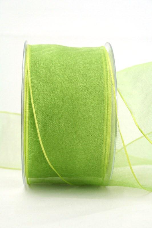 Organzaband hellgrün, 60 mm, mit Drahtkante - uni, organzabander, organzaband-mit-drahtkante