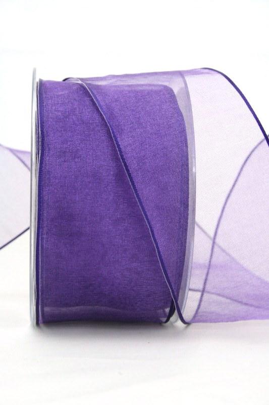 Organzaband lila, 60 mm, mit Drahtkante - uni, organzabander, organzaband-mit-drahtkante