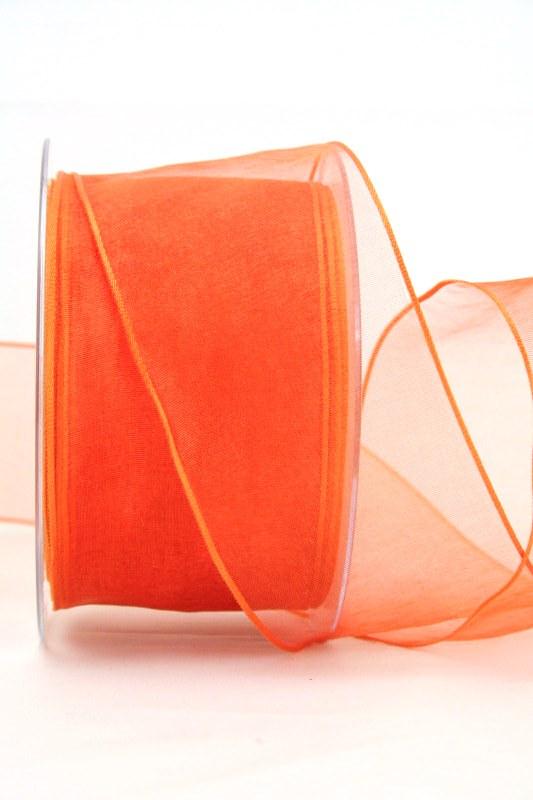 Organzaband orange, 60 mm, mit Drahtkante - uni, organzabander, organzaband-mit-drahtkante