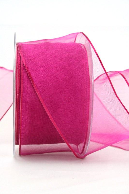 Organzaband pink, 60 mm, mit Drahtkante - uni, organzabander, organzaband-mit-drahtkante