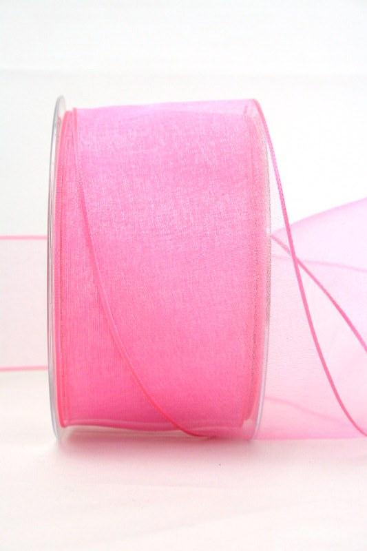 Organzaband rosa, 60 mm, mit Drahtkante - uni, organzabander, organzaband-mit-drahtkante
