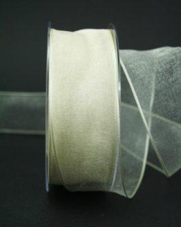 Organzaband creme, 40 mm, mit Drahtkante - uni, organzabander, organzaband-mit-drahtkante