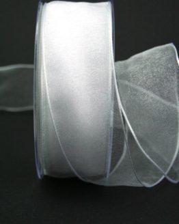 Organzaband weiß, 40 mm, mit Drahtkante - uni, organzabander, organzaband-mit-drahtkante