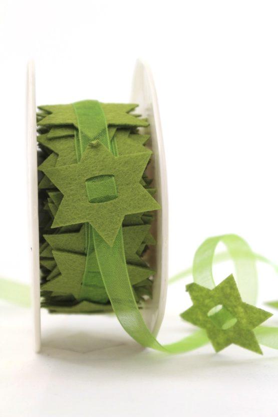 Organzaband mit Filzsternen, grün, 40 mm - weihnachten, organzabander