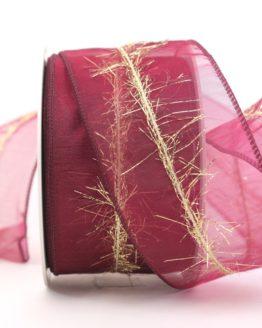 Organzaband mit Goldfransen, bordeaux, 60 mm - weihnachten, organzabander