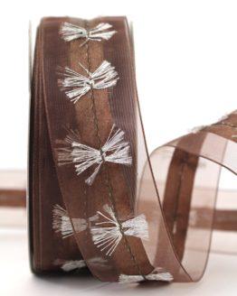 Organzaband mit Silberfransen, braun, 40 mm - weihnachten, sonderangebot, organzabander, 30-rabatt