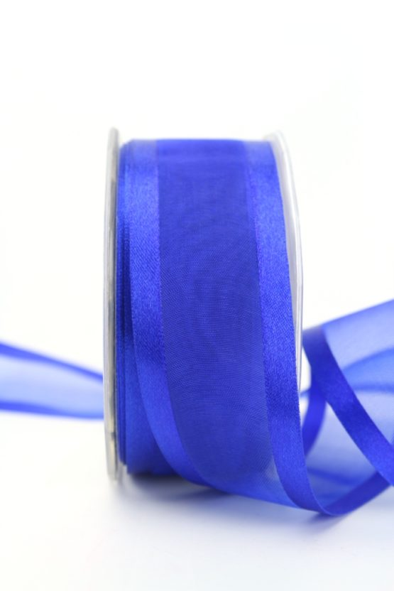 Organzaband mit Satinrand indigoblau, 40 mm - uni, organzabander