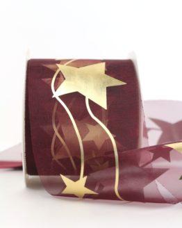 Organzaband mit goldenen Sternen, bordeaux, 70 mm - weihnachten, organzabander, gemustert