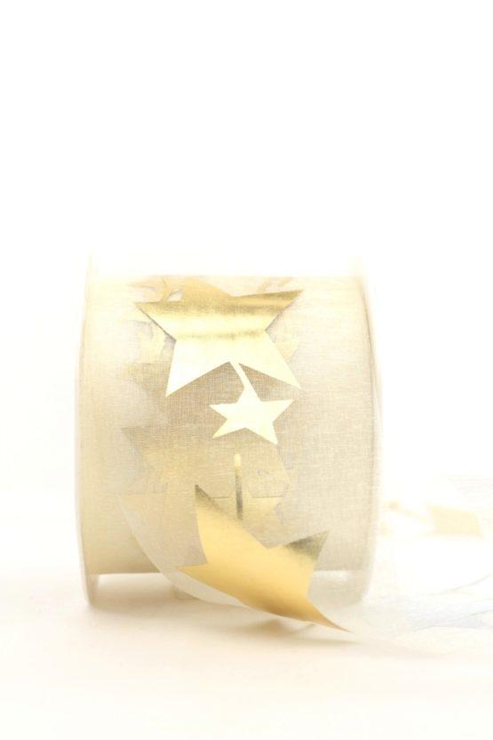 Organzaband mit goldenen Sternen, creme, 70 mm - weihnachten, organzabander, gemustert
