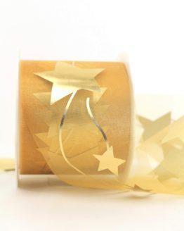 Organzaband mit goldenen Sternen, gold, 70 mm - weihnachten, organzabander, gemustert