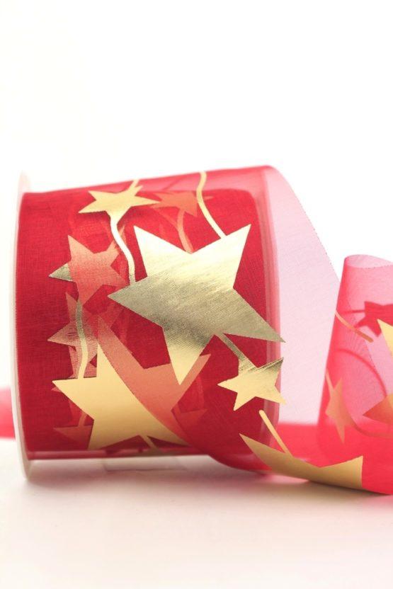 Organzaband mit goldenen Sternen, rot, 70 mm - weihnachten, organzabander, gemustert
