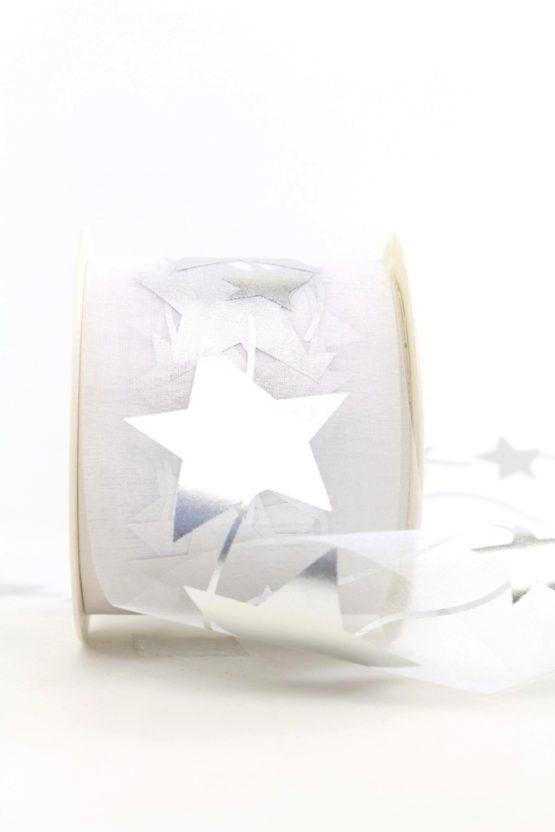 Organzaband mit silbernen Sternen, weiß, 70 mm - weihnachten, organzabander, gemustert