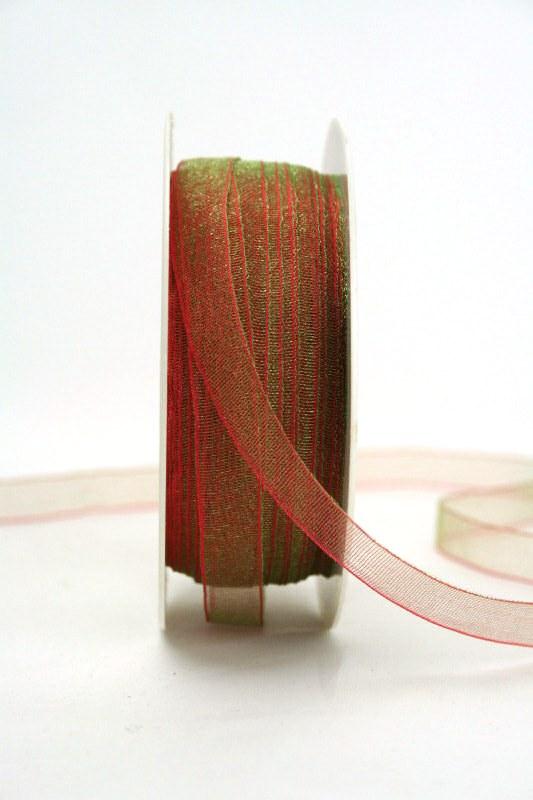Organzaband mit Webkante, 10 mm breit, rot-grün changierend - uni, sonderangebot, organzabander, 50-rabatt