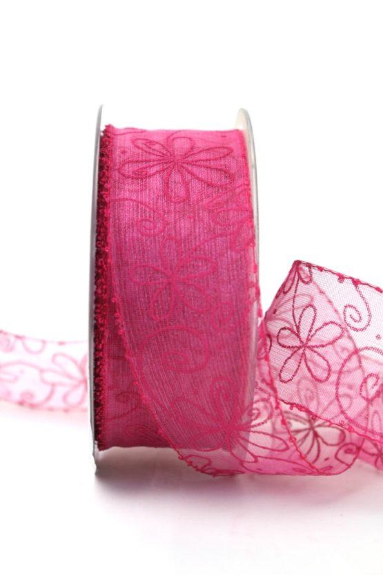 Organzaband pink, 40 mm, Blütendruck - organzabander, everyday