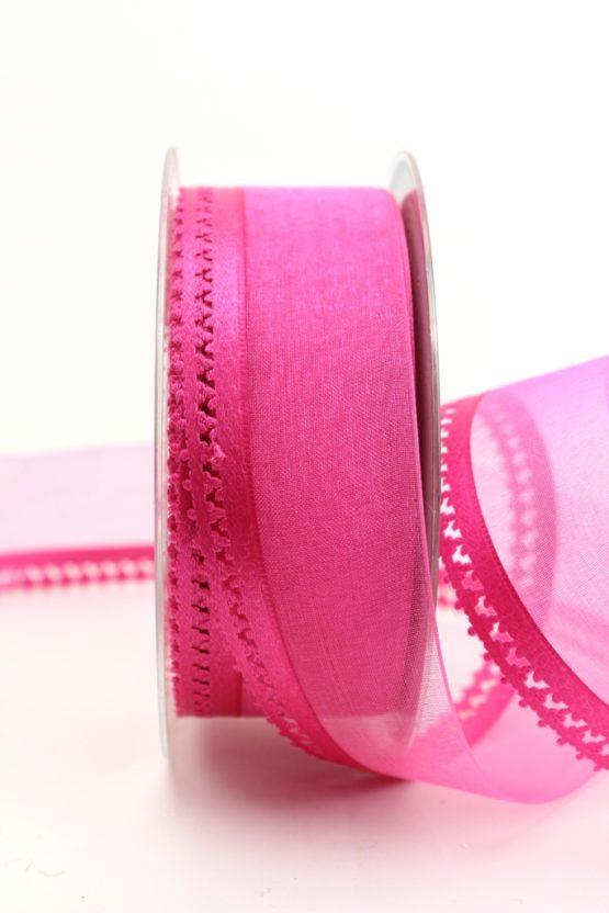 Organzaband pink, 40 mm, mit Designkante - organzabander, everyday