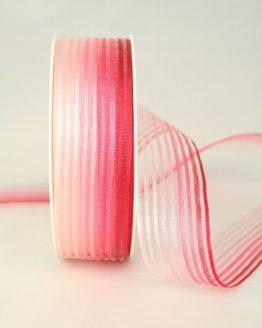 Organzaband rot-rosa mit Streifen, 25 mm - sonderangebot, organzabander, gemustert, everyday, 70-rabatt