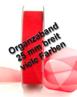 Organzaband mit Schnittkante, 25 mm, 45 m Rolle - uni, organzabander