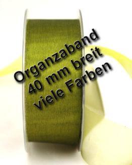 Organzaband mit Schnittkante, 40 mm, 45 m Rolle - uni, organzabander