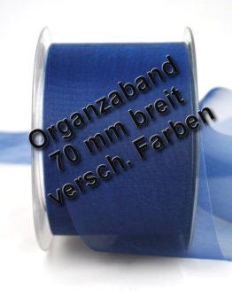 Organzaband mit Schnittkante, 70 mm, 45 m Rolle - uni, organzabander