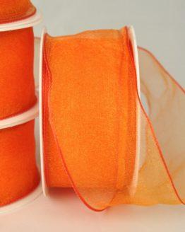 Organzaband mit Drahtkante, 40 mm, orange, 3 m Rolle - uni, sonderangebot, organzabander, organzaband-mit-drahtkante, 70-rabatt
