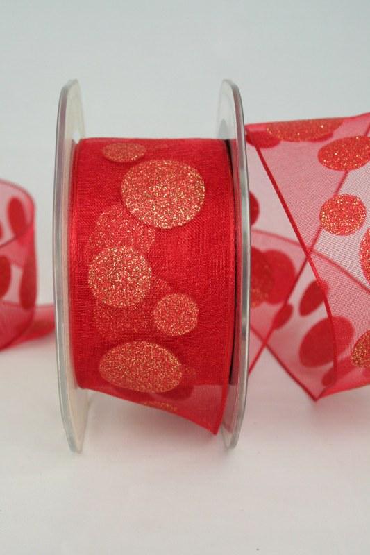 Organzaband mit glitzer Kreisen, rot-gold, 40 mm - weihnachten, organzabander