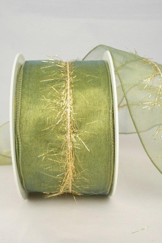 Organzaband mit Goldfransen, grün, 60 mm - weihnachten, organzabander