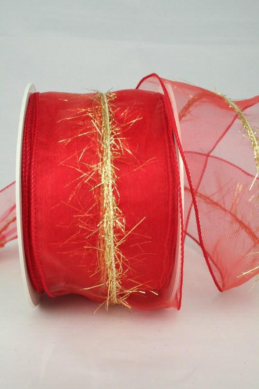 Organzaband mit Goldfransen, rot, 60 mm - weihnachten, organzabander