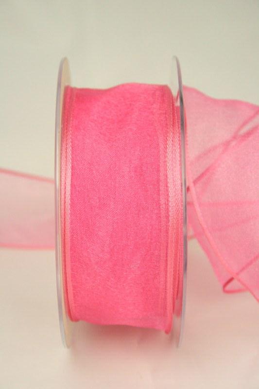Organzaband pink, 40 mm, mit Drahtkante - uni, organzabander, organzaband-mit-drahtkante