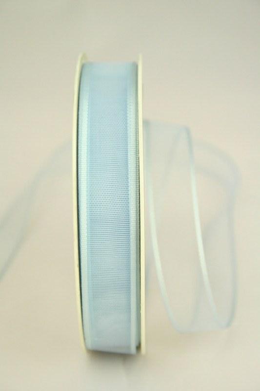 Organzaband mit Webkante, hellblau, 15 mm - uni, sonderangebot, organzabander