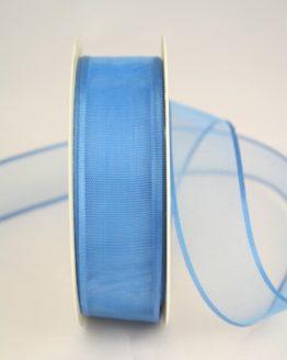 Organzaband mit Webkante, blau, 25 mm - uni, sonderangebot, organzabander