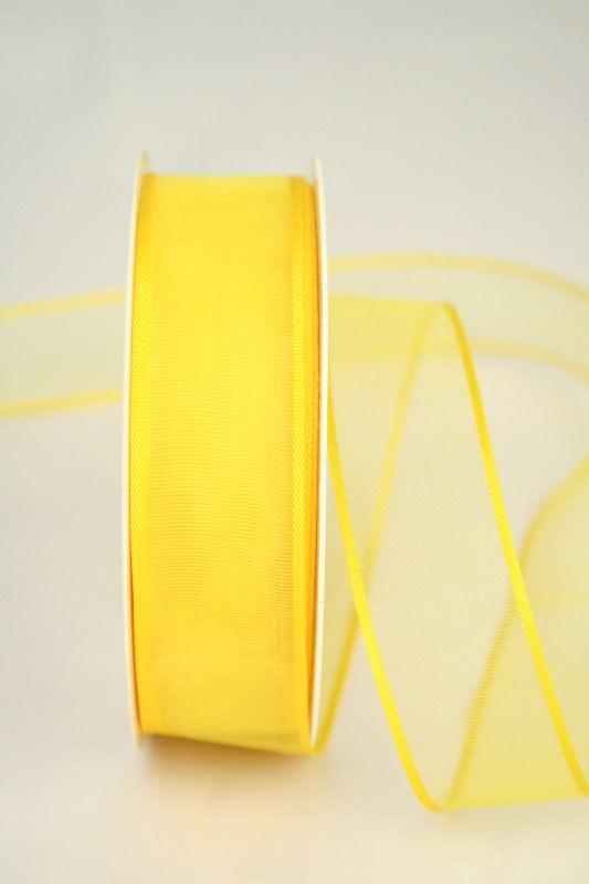 Organzaband mit Webkante, gelb, 25 mm - uni, sonderangebot, organzabander