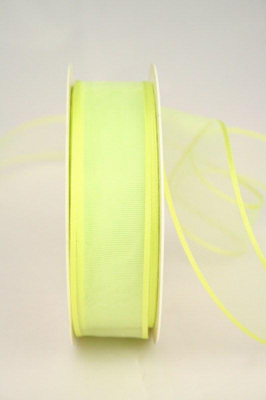 Organzaband mit Webkante, grasgrün, 25 mm - uni, sonderangebot, organzabander