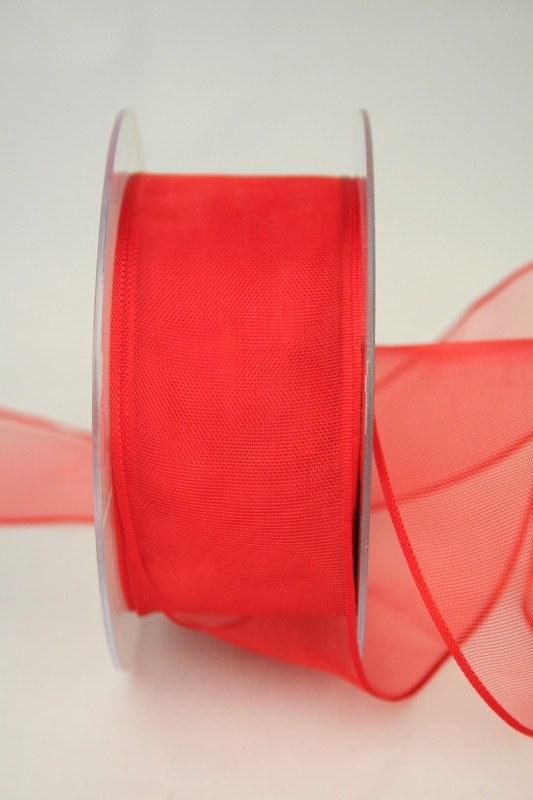 Organzaband mit Webkante, rot, 40 mm - uni, sonderangebot, organzabander