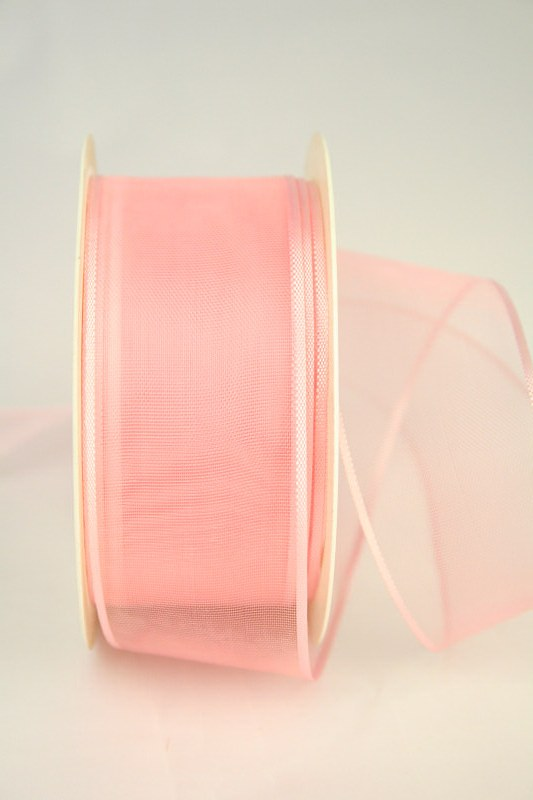 Organzaband mit Webkante, rosa, 40 mm - uni, sonderangebot, organzabander