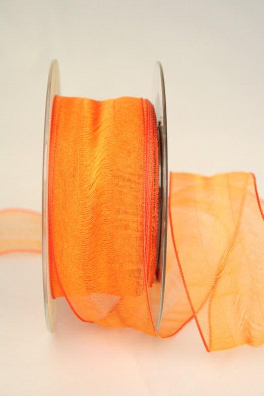Organzaband Valencia, orange, 40 mm - sonderangebot, organzabander, gemustert, 50-rabatt
