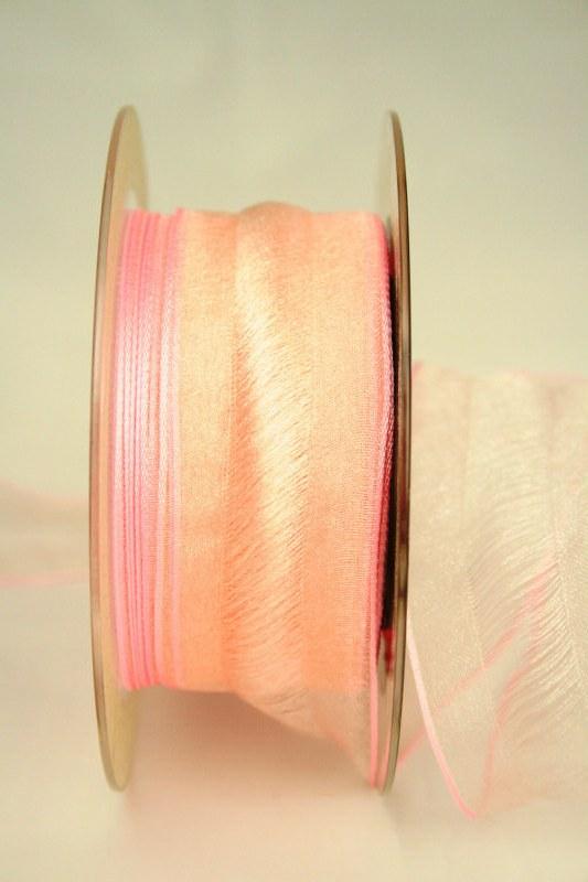 Organzaband Valencia, rosa, 40 mm - sonderangebot, organzabander, gemustert, 50-rabatt