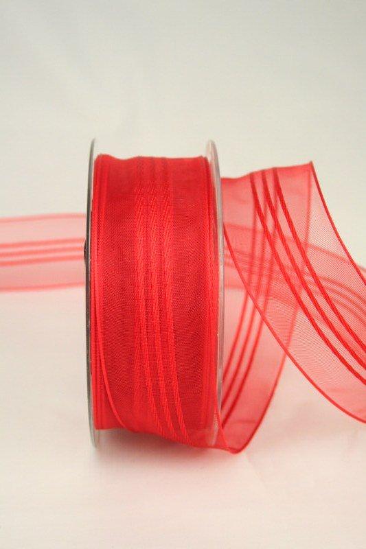 Organzaband mit Streifen, rot, 40 mm - sonderangebot, organzabander, gemustert, 50-rabatt