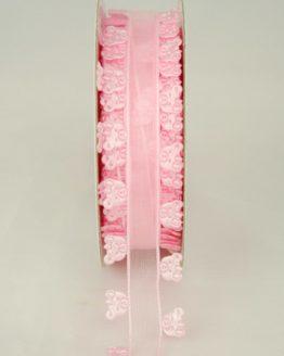 Organzaband mit ausgestanzten Bärchen, 25 mm, rosa - sonderangebot, organzabander, gemustert, everyday, 30-rabatt