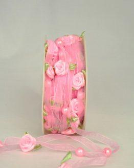 Organzaband mit Satin-Rosenblüten, rosa, 6 mm - sonderangebot, organzabander