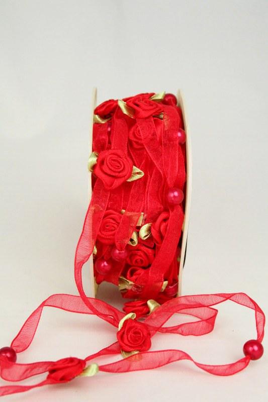 Organzaband mit Satin-Rosenblüten, rot, 6 mm - sonderangebot, organzabander