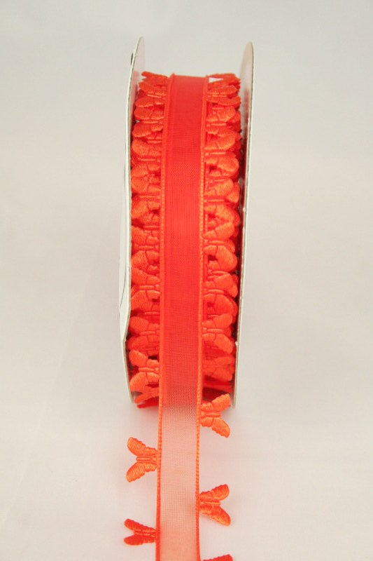Organzaband mit ausgestanzten Schmetterlingen, 25 mm, orange - sonderangebot, organzabander, gemustert, everyday, 30-rabatt